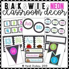 Black & White Polka Dots with Neon Accents Classroom Decor Pack