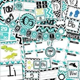 Black, White, & Turquoise Blue Chevron Classroom Bundle