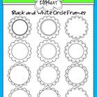 Black and White Circle Frames Clip Art