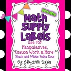 Black and White Polka Dot Math Manipulative Labels