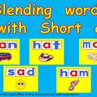 Blending words short a vowel sound PowerPoint- Kindergarten- 1st
