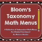 Bloom's Taxonomy Math Menus