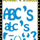 Alphabet and Punctuation Symbols Clipart - Blue