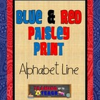 Blue & Red Paisley Themed Manuscript Alphabet Line
