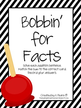 Bobbin' For Facts- Addition sums 10 to 18