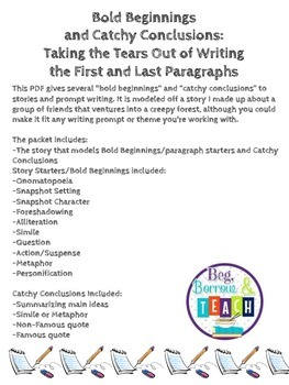 "Bold Beginnings:  Examples of Good ""Hooks"" for Writing Essays"