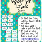 Book Bin Labels by Genre - Turquoise Dots