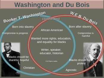 booker t v dubois dbq Booker t washington and web du bois offered different strategies for dealing  with the problems of poverty and discrimination faced by black.