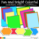 Borders Fun and Brights Color pages, borders and toppers pack