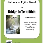 Bridge to Terabithia Quizzes on Entire Novel