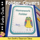 Bright Colorful Owls Daily Work Folder Covers for Elementa