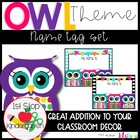 Bright & Colorful Polka-Dot & Stripe Owl Name Tags