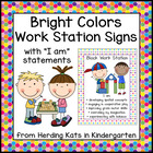 Bright Colors Work Stations Signs