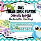 Bright Owl Nameplates Chevron (blue, pink, green, yellow, purple)