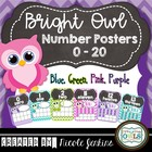Bright Owl Number Posters Chevron 1-20 (Blue, Pink, Purple