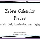 Bright Zebra Themed Calendar Pieces