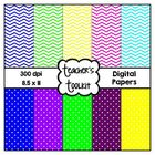 'Brights' Polka Dot and Chevron Digital Paper Pack {8.5 x