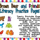 Brown Bear Literacy Practice Pages Kindergarten- color wor
