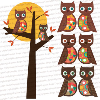 Brown Owls Clip Art - Lots of Cute Owls and Owls in a Tree