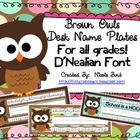 Brown Owls Nameplates D'Nealian
