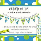 Bubble Blue add-on! Small pennant. Perfect for name tags o
