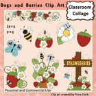 Bugs and Berries Clip Art - Color  personal & commercial use