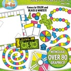 Build A Board Game Clipart Set 1 — Over 80 Colorful Graphics