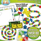 Build A Board Game Clipart Set 3 — Over 80 Colorful Graphics