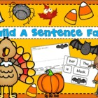 Build a sentence with fall words - Halloween, Thanksgiving