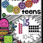 Building teen numbers with base ten concepts.