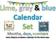 Bulletin Board Calendar Lime, gray, blue