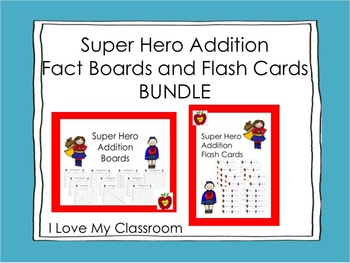 Bundle - Super Hero Addition Fact Boards and Flash Cards