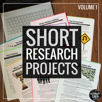 Bundle of 10 'Short Research Projects' for CCSS ELA (Grades 6-12)