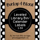 Burlap & Black Number Labels: Leveled Library or Calendar