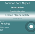 CCSS Aligned Interactive Special Education Lesson Plan Tem