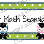 CCSS Display Cards for Math with Owl and Polka-Dot Theme