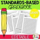 Common Core Editable Standards Based Gradebook - Grade 3