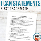 CCSS I CAN Statements for Math - 1st Grade