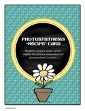 CELLS Photosynthesis Recipe Card