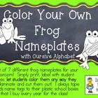 COLOR YOUR OWN Frog Nameplates w/ Cursive Alphabet ~ 7 Dif