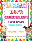 COMMON CORE CHECKLIST ELA AND MATH FIRST GRADE BACK TO SCHOOL