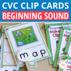 CVC Initial Sound Make a Word Clip Cards:  Interactive Pho