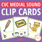 CVC Medial Sound Make a Word Clip Cards:  Interactive Phonics Fun