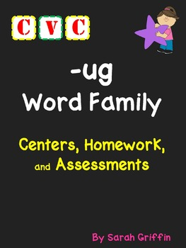 CVC Word Family __ug Words Writing, Centers, Decodable Boo