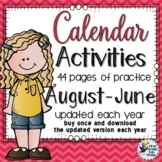 Calendar Activities - 4 Pages of Calendar Practice for Each Month