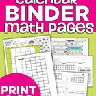 Calendar Binder Math Pages