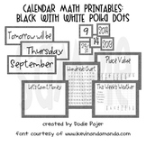 Calendar Math - Black with White Polka Dots