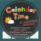 Calendar Time, Birthdays 2014-2016 and Printable Student PDFs