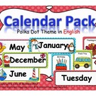 Calendar Pack- Polka Dot Theme in ENGLISH