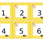 Calendar Pieces - Yellow and White Polka-Dots with bee and